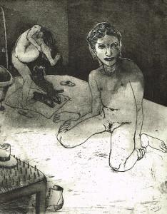 We're all bleeding 3 (B/W) , 2012, 25 x 20 cm, etching/aquatint, edition 15