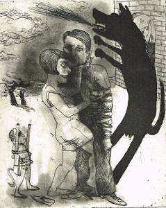 We're all bleeding 4 (B/W) , 2012, 25 x 20 cm, etching/aquatint, edition 15