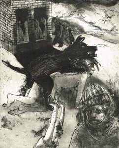 We're all bleeding 6 (B/W) , 2012, 25 x 20 cm, etching/aquatint, edition 15