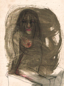 DW15- 11/3, 2016, pencil, oil on board, 21 x 15cm