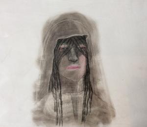 DW19- 25/3, 2016, pencil, oil on board, 30x 35cm