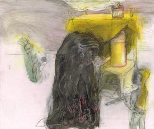 DW22- 25/3, 2016, pencil, oil on board, 31 x 35cm