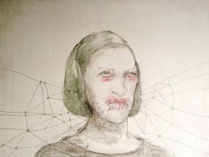 DW26- 7/4, 2016, pencil, oil on board, 30 x 40 cm