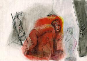 DW29-9/5, 2016, pencil, oil on board, 30 x 40cm