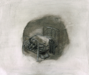 DW31-8_5, 2016, pencil, oil on board, 30 x 35cm