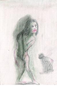 DW32-17/5, 2016, pencil, oil on board, 29 x 19 cm