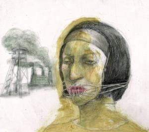 DW44–26/6, 2016, pencil, oil on board, 27 x 30 cm