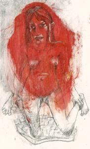 DW5-2/3, 2016, pencil, oil on board, 19 x 12cm