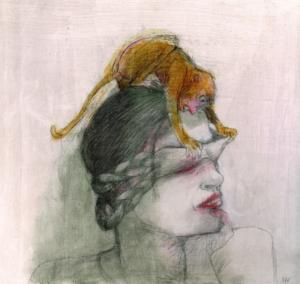 DW59-18/7, 2016, pencil, oil on board, 27 x 30 cm