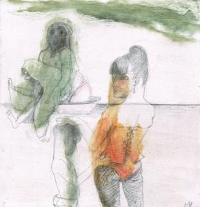 DW65- 1/8, 2016, pencil, oil on board, 21 x 21 cm