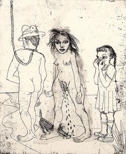 La famille, 2008, etching, 15.5 x 12.5 cm, edition 15