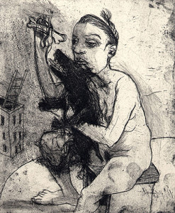 Lap-dog, 2009, etching, 15.5 x 12.5 cm, edition 15