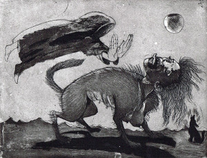 The priest and the werewolf, 2011, etching/aquatint, 24 x 19 cm, edition 30