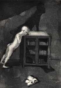 Boy and bookcase, 2001, etching/aquatint, 25 x 18 cm, edition 25