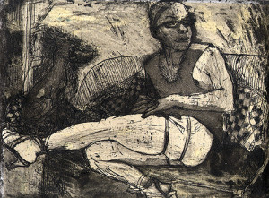 Gerard & Edie, 2008, etching/aquatint-chine colle, 11.5 x 11.5 cm, edition 30