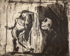Incomplete tales 2: playing games, 2001, etching/aquatint, 20 x 25 cm, edition 25
