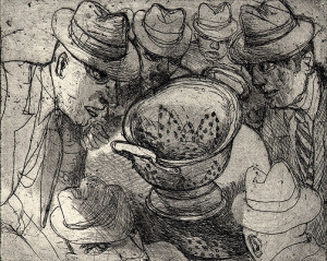 King of colanders 1, 2009, etching, 10 x 12.5 cm, edition 15