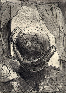 King of colanders 3, 2009, etching, 12.5 x 9 cm, edition 15
