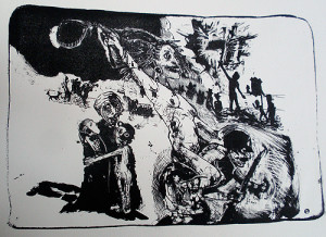 Furies of war, 2011, stone litho, 36 x 40 cm, edition 10