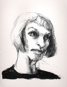 Self portrait, 2007, stone litho, 25 x 20 cm, edition 5
