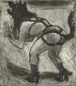 Love is a dog from hell 3, 2014, etching/aquatint, 10 x 9 cm, edition 15