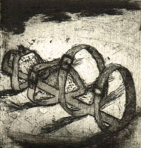 Love is a dog from hell 4, 2014, etching/aquatint, 8 x 7,5 cm, edition 15