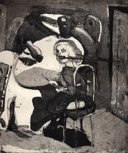 Possible dynamics around the diningtable, 2001, etching/aquatint, 26 x 22 cm, edition 25