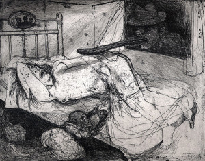 Sleep well my pretty 1, 2008, etching, 20 x 25 cm, edition 30