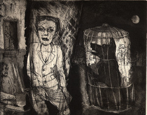 Stage fright, 2007, etching/aquatint, 20 x 25 cm, edition 30