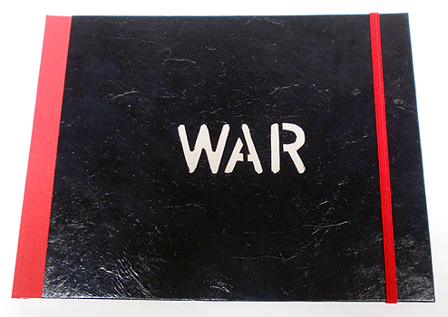 WAR, 2013, a single copy book, 4 hand coloured, recycled etchings/aquatints, 17,5 x 22,5 cm, Laparello binding