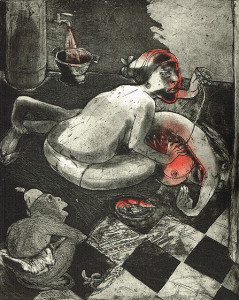 We're all bleeding 1 (hand coloured) , 2012, 25 x 20 cm, etching/aquatint, edition 15