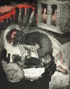 We're all bleeding 2 (hand coloured) , 2012, 25 x 20 cm, etching/aquatint, edition 15