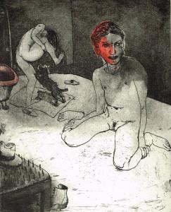 We're all bleeding 3 (hand coloured) , 2012, 25 x 20 cm, etching/aquatint, edition 15