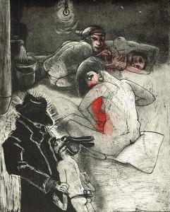We're all bleeding 5 (hand coloured) , 2012, 25 x 20 cm, etching/aquatint, edition 15