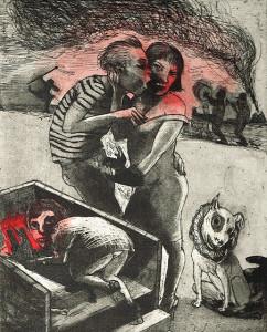 We're all bleeding 7 (hand coloured) , 2012, 25 x 20 cm, etching/aquatint, edition 15