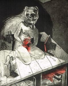 We're all bleeding 8 (hand coloured) , 2012, 25 x 20 cm, etching/aquatint, edition 15