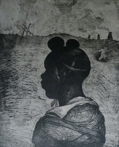 Child soldier 1 , 2013, 30 x 25 cm, etching/aquatint/ chine-collé, grey, V.E. 30