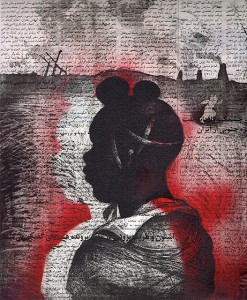 Child soldier 1 , 2013, 30 x 25 cm, etching/aquatint/ chine-collé, red ink, V.E. 30