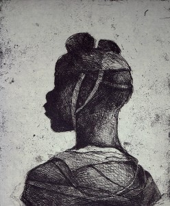 Child soldier 2 , 2013, 30 x 25 cm, etching / chine-collé, grey, V.E. 30