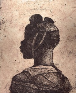 Child soldier 2 , 2013, 30 x 25 cm, etching / chine-collé, pink, V.E. 30