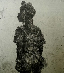 Child soldier, standing 2013 , 40 x 40 cm, etching/ chine-collé,green V.E. 30