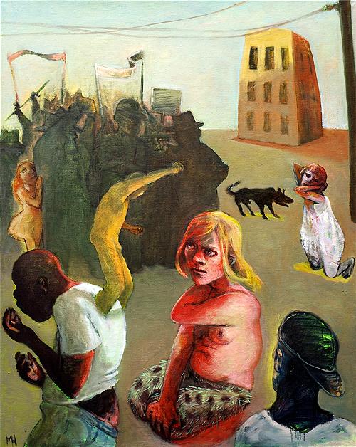 Protestors, 2013, oil on canvas, 100 x 90 cm