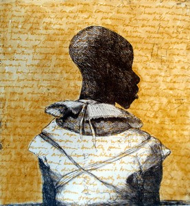 White collar black man , 2014, 40 x 40 cm, etching/ chine-collé, handwritten text/paint V.E. 30