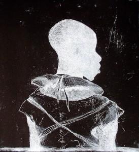 White collar black man , 2014, 40 x 40 cm, etching, reverse print V.E. 30