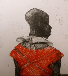 White collar black man , 2014, 40 x 40 cm, etching hand coloured V.E. 30
