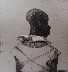White collar black man , 2013, 40 x 40 cm, etching / chine-collé, grey Korean paper V.E. 30