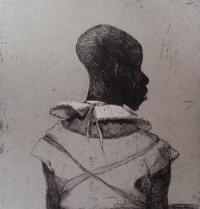 White collar black man , 2013, 40 x 40 cm, etching / chine-collé, grey Korean paper V.E. 30