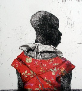 White collar black man , 2014, 40 x 40 cm, etching / chine collé, 2014 V.E. 30