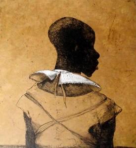 White collar black man , 2014, 40 x 40 cm, etching/ chine-collé, ochre yellow V.E. 30
