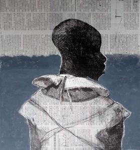 White collar black man , 2014, 40 x 40 cm, chine-collé, Chinese newsprint / grey paint V.E. 30